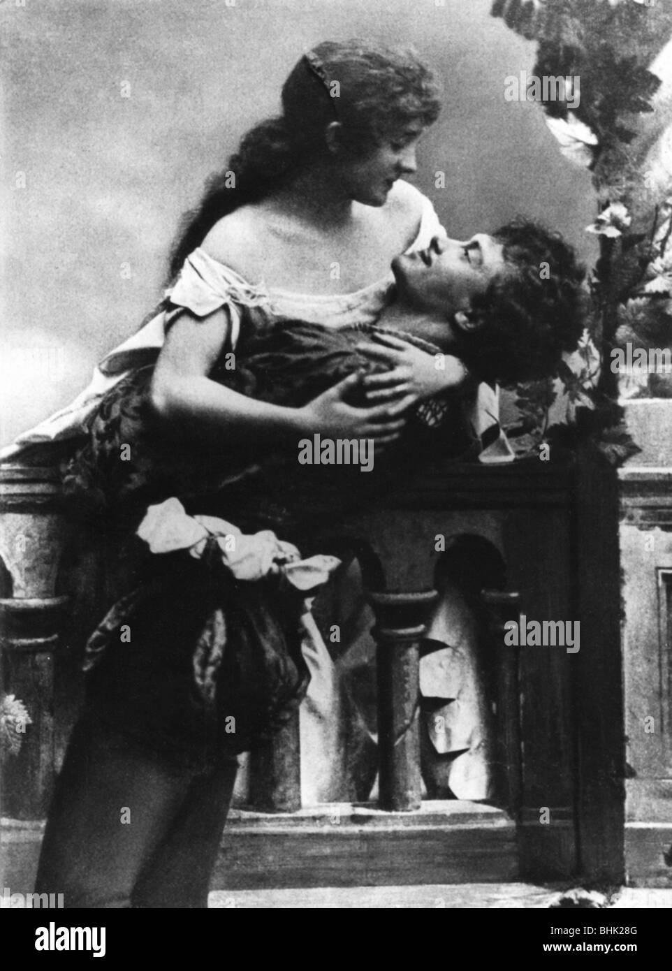 """Kainz, Josef, 2.1.1858 - 20.9.1910, österreichischer Schauspieler, als Romeo in dem Stück """"Romeo Stockbild"""