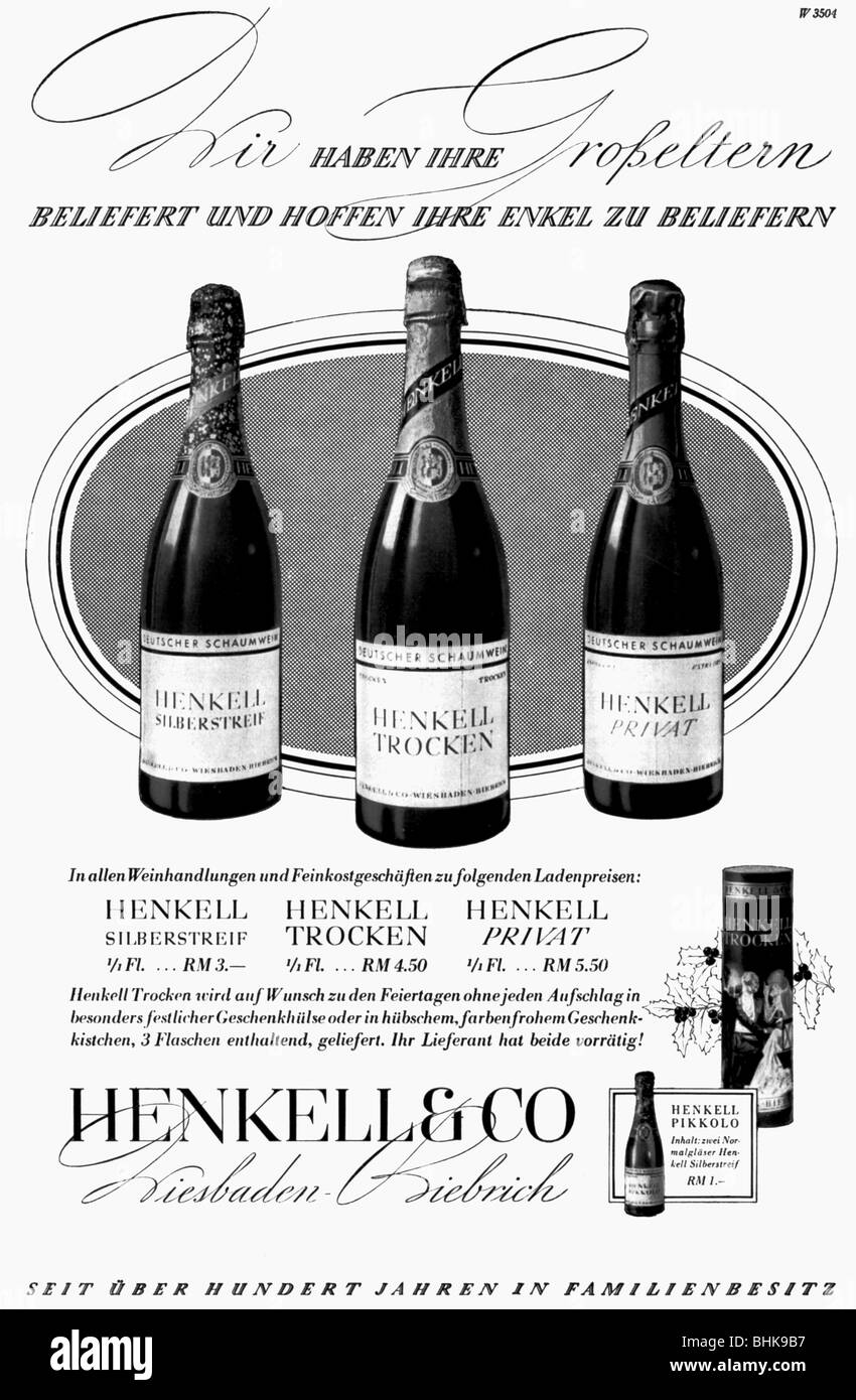 Werbung, Getränke, Sekt, Wein, Henkell Trocken, Henkell Und Co ...