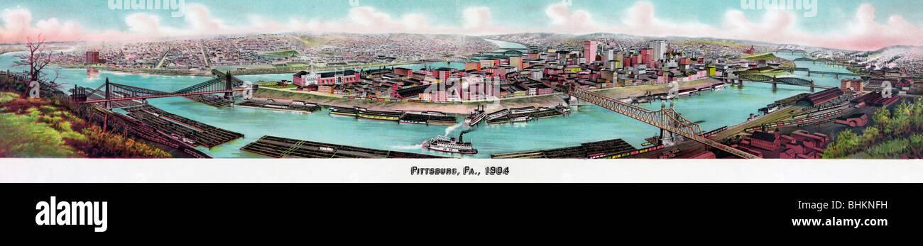 Panoramablick auf Pittsburg(h), PA 1904 Stockbild