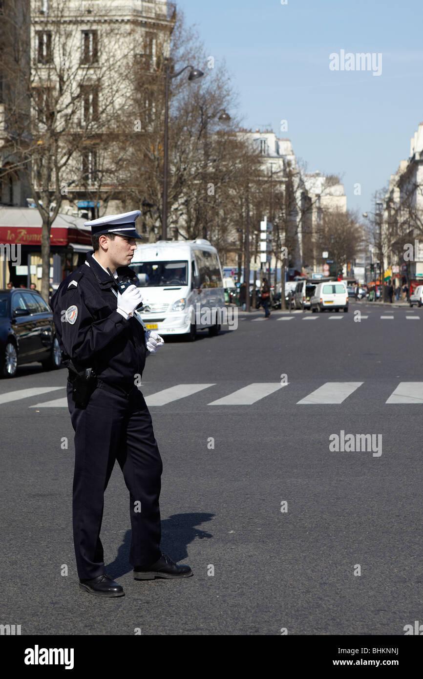 Verkehrspolizei in Paris, Frankreich Stockbild