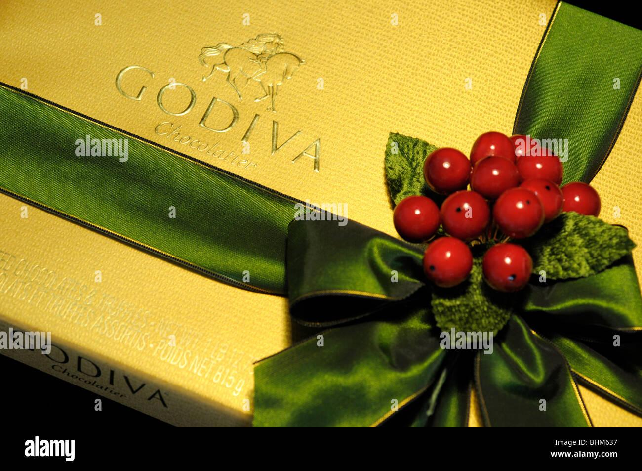 Schachtel Pralinen Weihnachtsgeschenk verpackt Stockbild