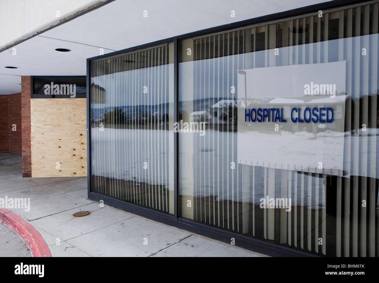 Ein kürzlich geschlossenen Krankenhaus im westlichen Maryland. Stockbild
