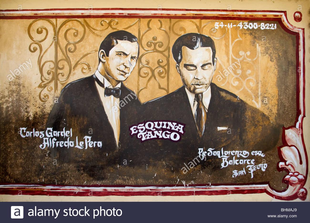 Wandmalerei Carlos Gardel Tango tanzen tanzen Buenos Aires Argentinien Zeichen Billboard Stockbild