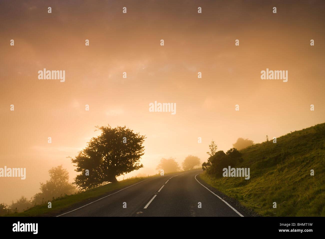 Nebligen Bedingungen bei Sonnenaufgang an einem Moor-Straße, Brecon Beacons National Park, Powys, Wales. Sommer Stockbild