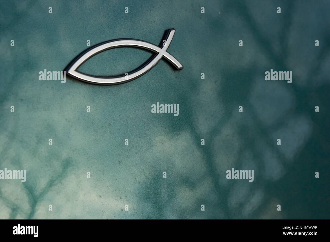 Ichthys Symbol Ichthus Chrom Emblem Auf Der Rückseite Des