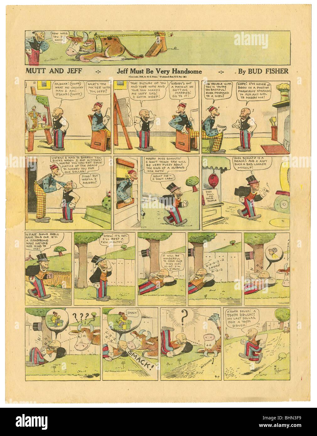 1923 Farbe Sonntag Zeitung comic-Seite, Mutt und Jeff von Bud Fisher. Stockbild