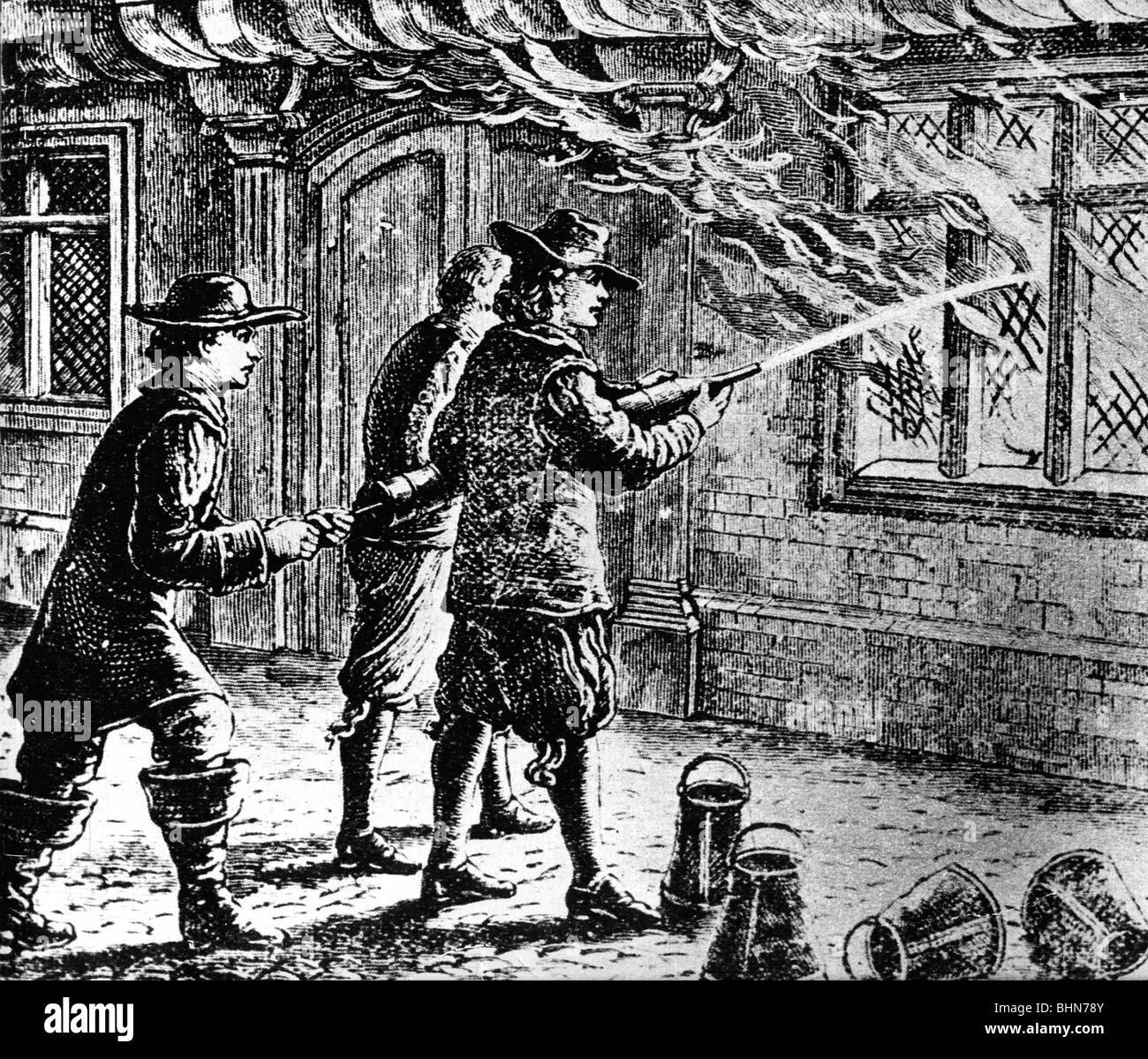 Feuer, London 1666, Feuerwehr bei der Brandbekämpfung Operationen, Holz Gravur, 19. Jahrhundert, historische, Stockbild