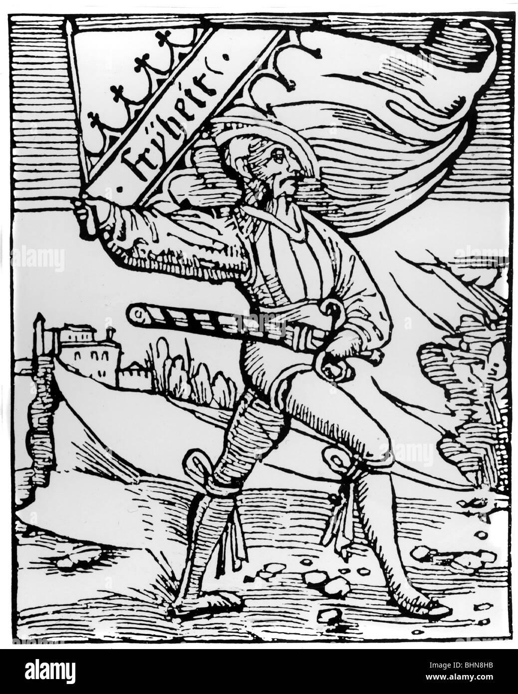 Veranstaltungen, Deutscher Bauernkrieg 1524 - 1526, Farbe Träger der Bauernarmee, Fahne mit dem Motto 'Freiheit', Stockbild