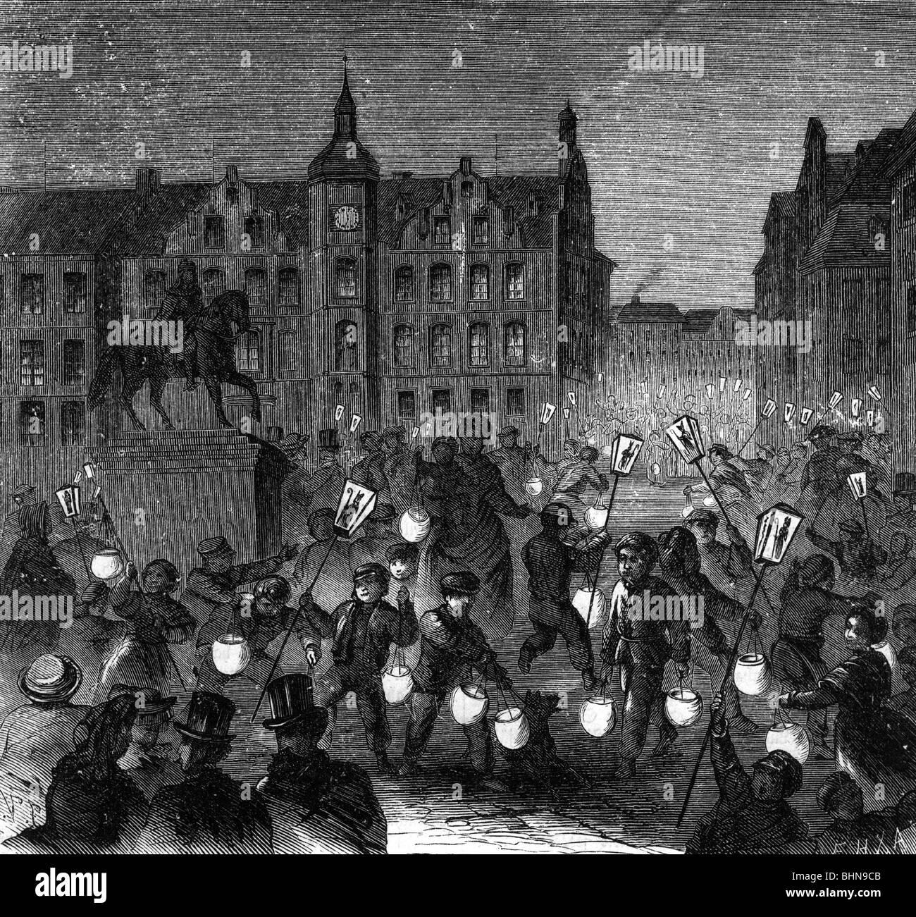 Tradition Folklore St Martins Tag Martinstag In Dusseldorf Holzgravur Deutschland 1865 Stockfotografie Alamy