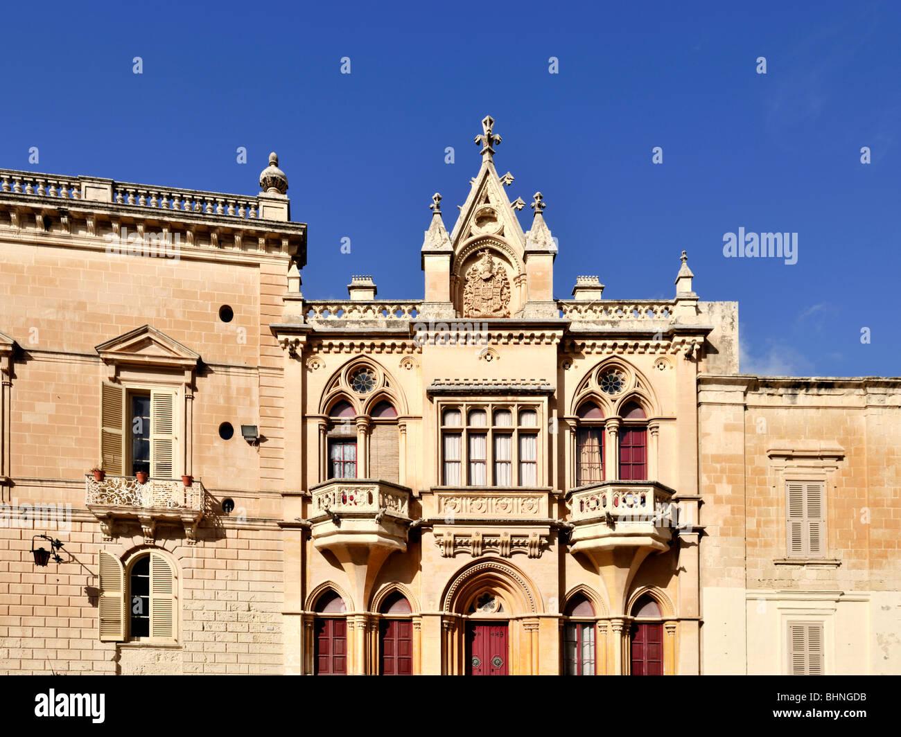 Barocke Fassade, Pjazza San Pawl, Mdina Stockbild