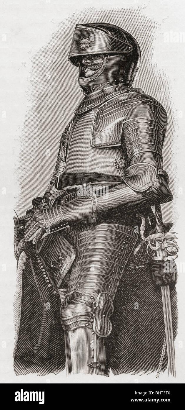 Vergoldete Rüstung gegeben Charles ich durch die City of London. Stockbild