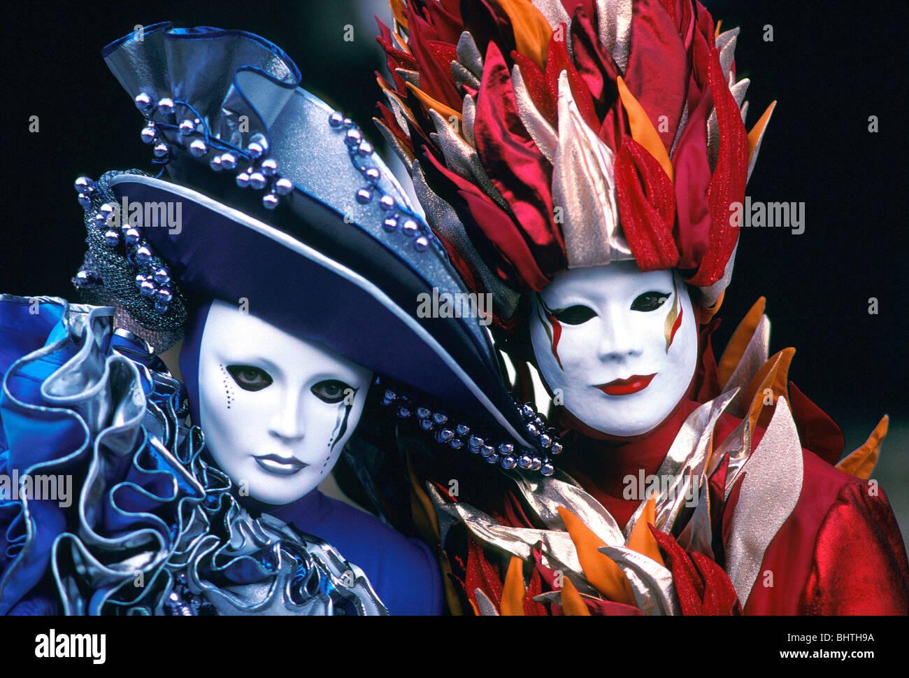 Dramatische Fire Ice Masken Bei Der Karneval Von Venedig 1993