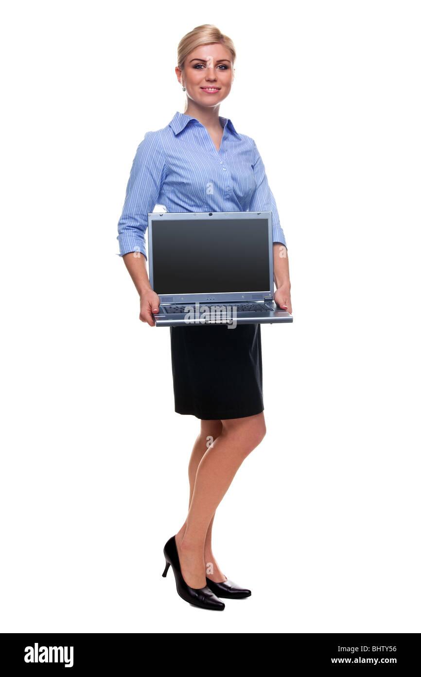 Geschäftsfrau hält einen Laptop mit leerer Bildschirm, Clipping-Pfad zur Verfügung gestellt für Stockbild