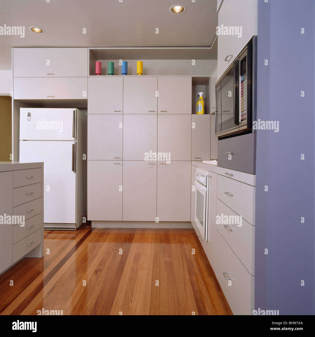 interiors modern kitchens fridge freezers stockfotos. Black Bedroom Furniture Sets. Home Design Ideas