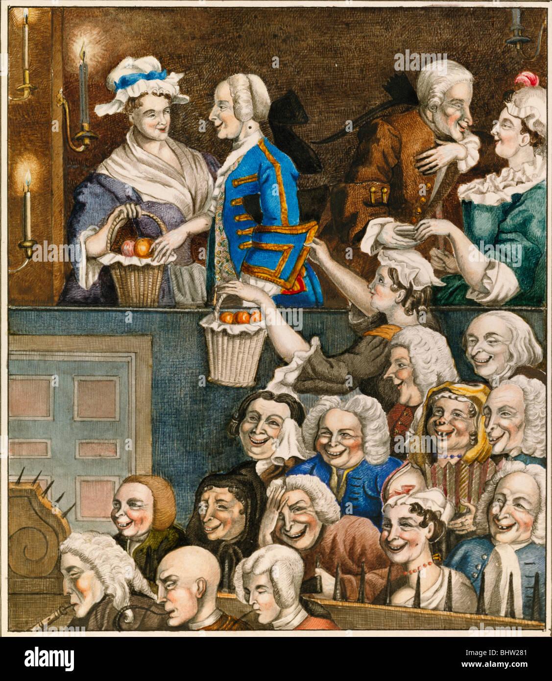 Das lachende Publikum von Edward Matthew Ward. England, 19. Jahrhundert Stockbild