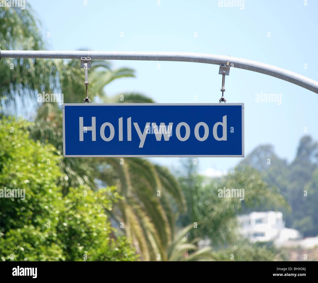 Hollywood Blvd Schild mit Palm-Baum-Kulisse. Stockbild