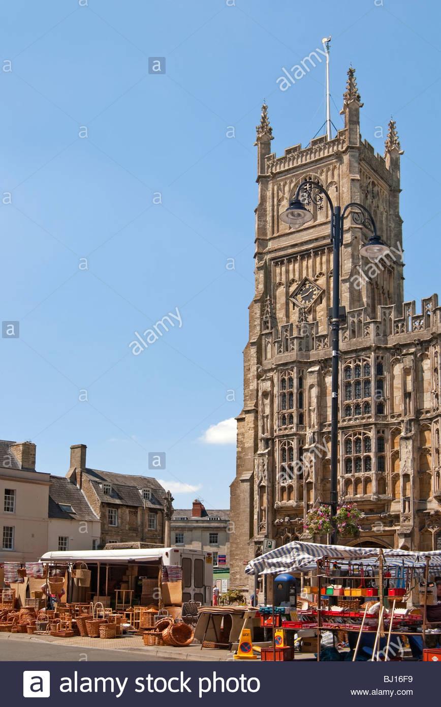 Bild der Kirche St. Johannes der Täufer, Cirencester Marktflecken im Osten Gloucestershire, England Stockbild