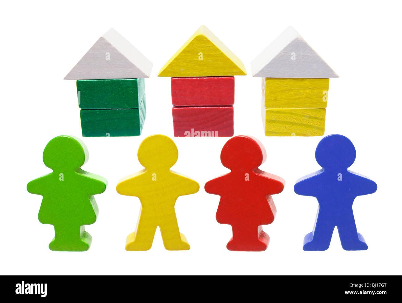 Miniatur-Häuser und Figuren Stockbild