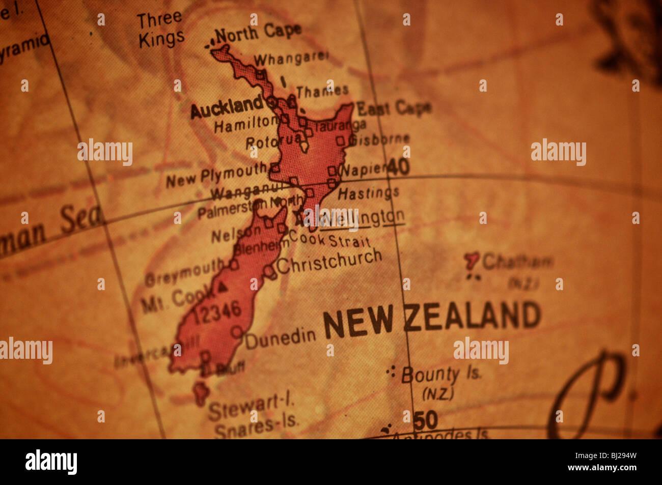 Neuseeland Detail: Neuseeland Karte Stockfotos & Neuseeland Karte Bilder
