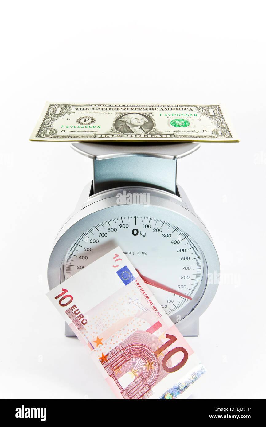 Dollarschein auf Schuppen hinter einer Euro-Schein, Währung US-Dollar hinzufügen von Gewicht im Verhältnis Stockbild