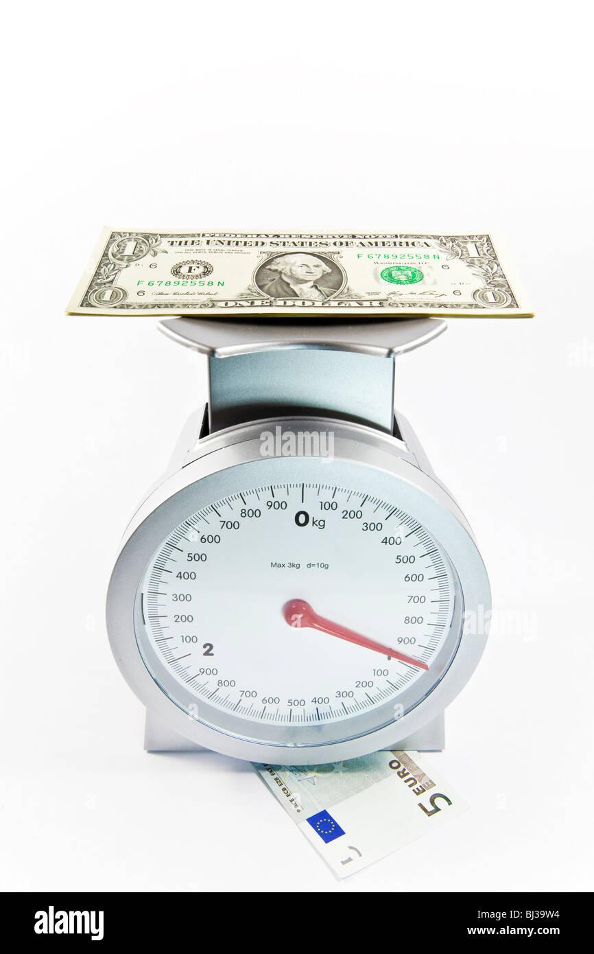 Dollar bill auf Skalen, die auf einen Euro-Schein, Währung US-Dollar hinzufügen von Gewicht im Verhältnis Stockbild