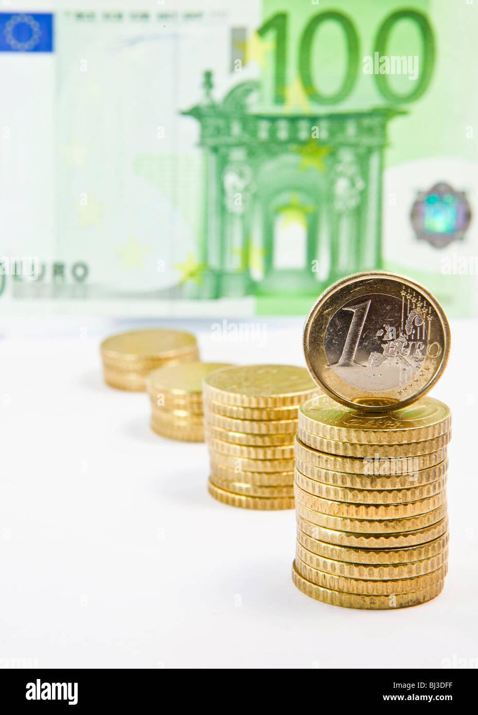 Euro Und 50 Euro Cent Münzen 100 Euro Schein Stockfoto Bild