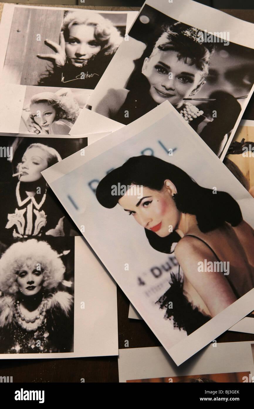 Polaroid-Fotos, Fotokopien, Prominenten, Stars, Stockbild