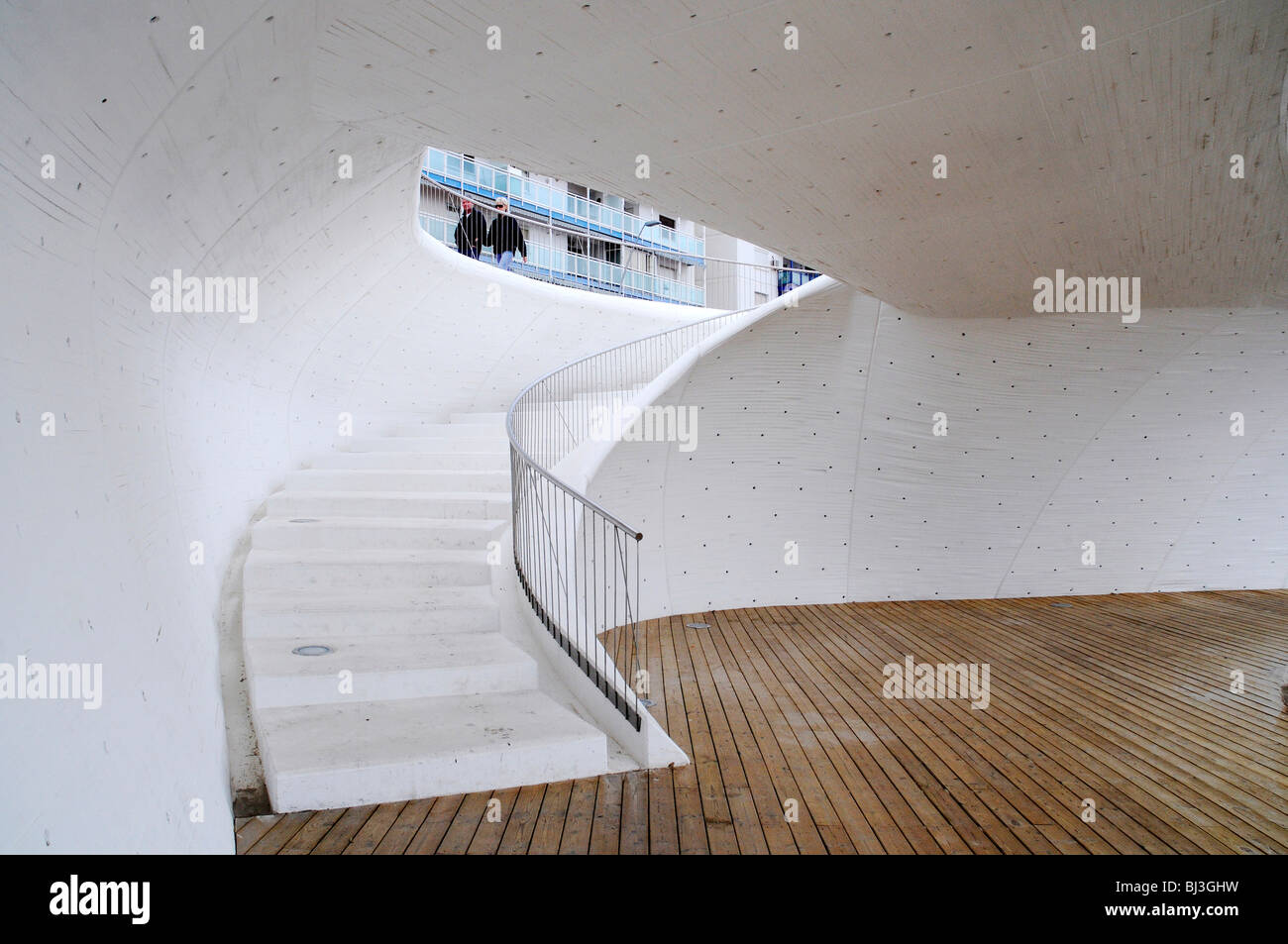 Moderne Architektur, Treppe, Durchgang, promenade, Benidorm, Costa Blanca, Provinz Alicante, Spanien, Europa Stockbild