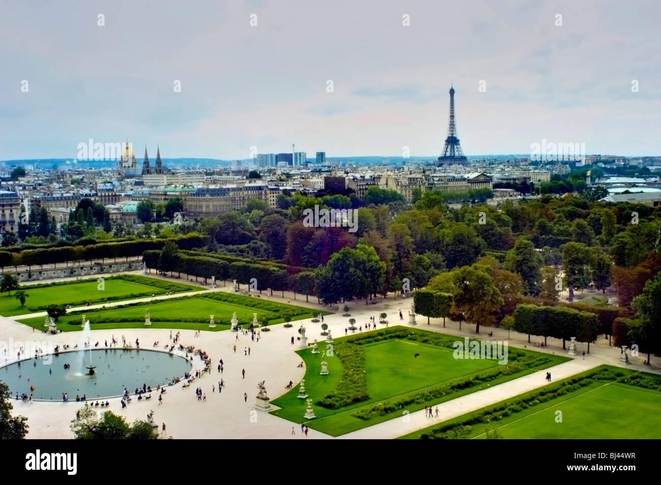 Paris, Frankreich - Übersicht der Tuilerien-Garten \