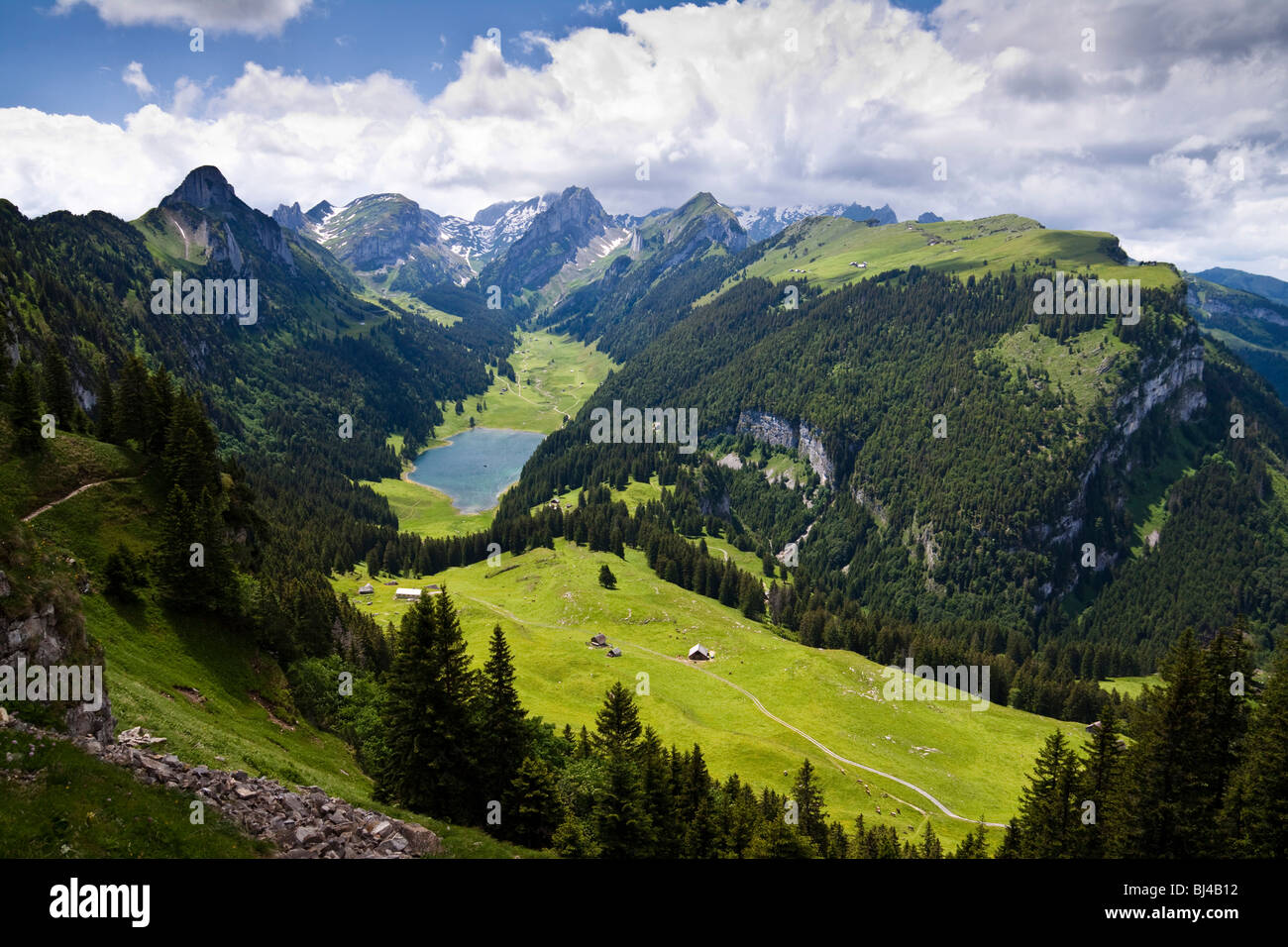 Blick auf den Saemtisersee See und die Berge Alpsteingebirge, Bruelisau, Kanton Appenzell Innerrhoden, Schweiz, Stockbild