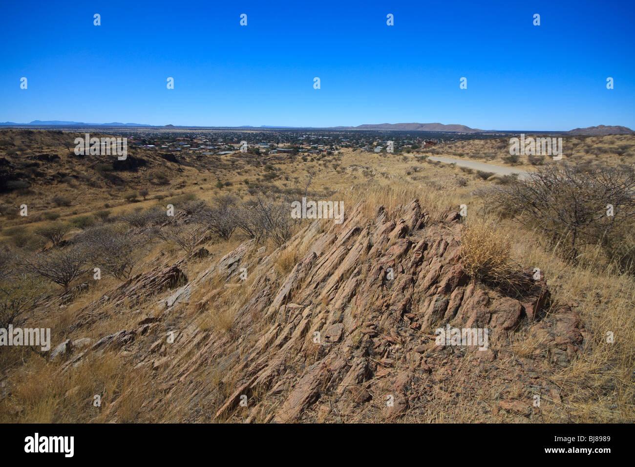 Afrika-Blue Skies Namibia Rehoboth Rock Stockbild