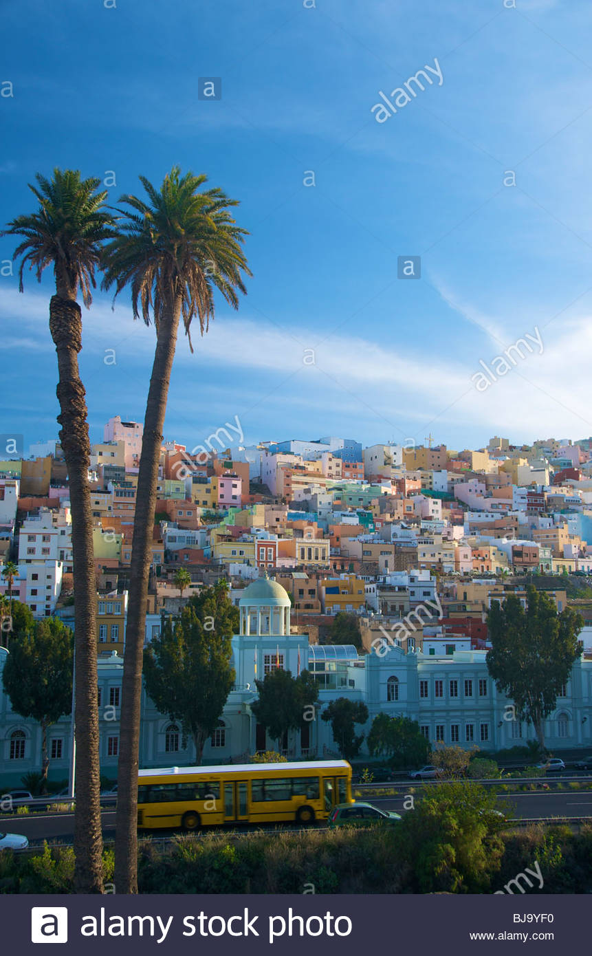 Pastellfarben Häuser Las Palmas Gran Canaria Kanaren Spanien Stockbild