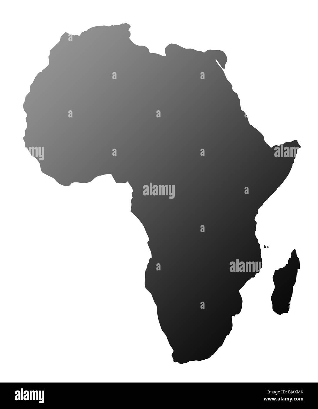 Silhouette des afrikanischen Kontinents, isoliert auf weißem Hintergrund. Stockbild