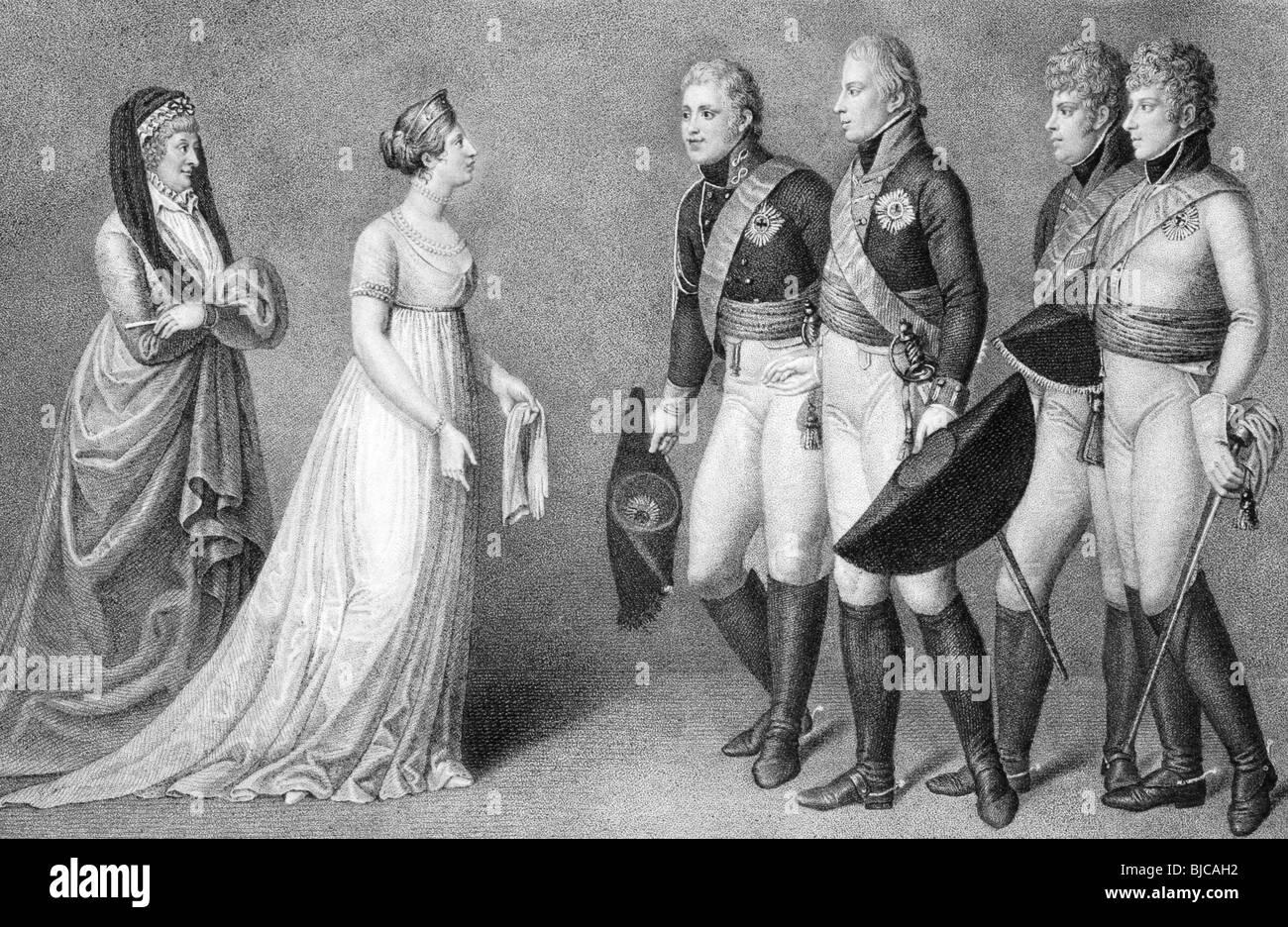 Frederick William und Louisa von Preußen Romantik-Szene auf Gravur aus den 1800er Jahren. Stockbild