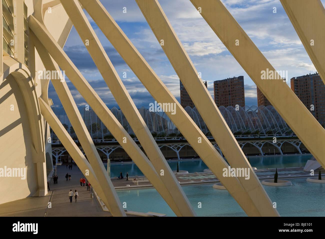 Stadt der Künste und Wissenschaften Gebäude, eine kombinierte Planetarium ozeanographische Wissenschaftspark Stockbild
