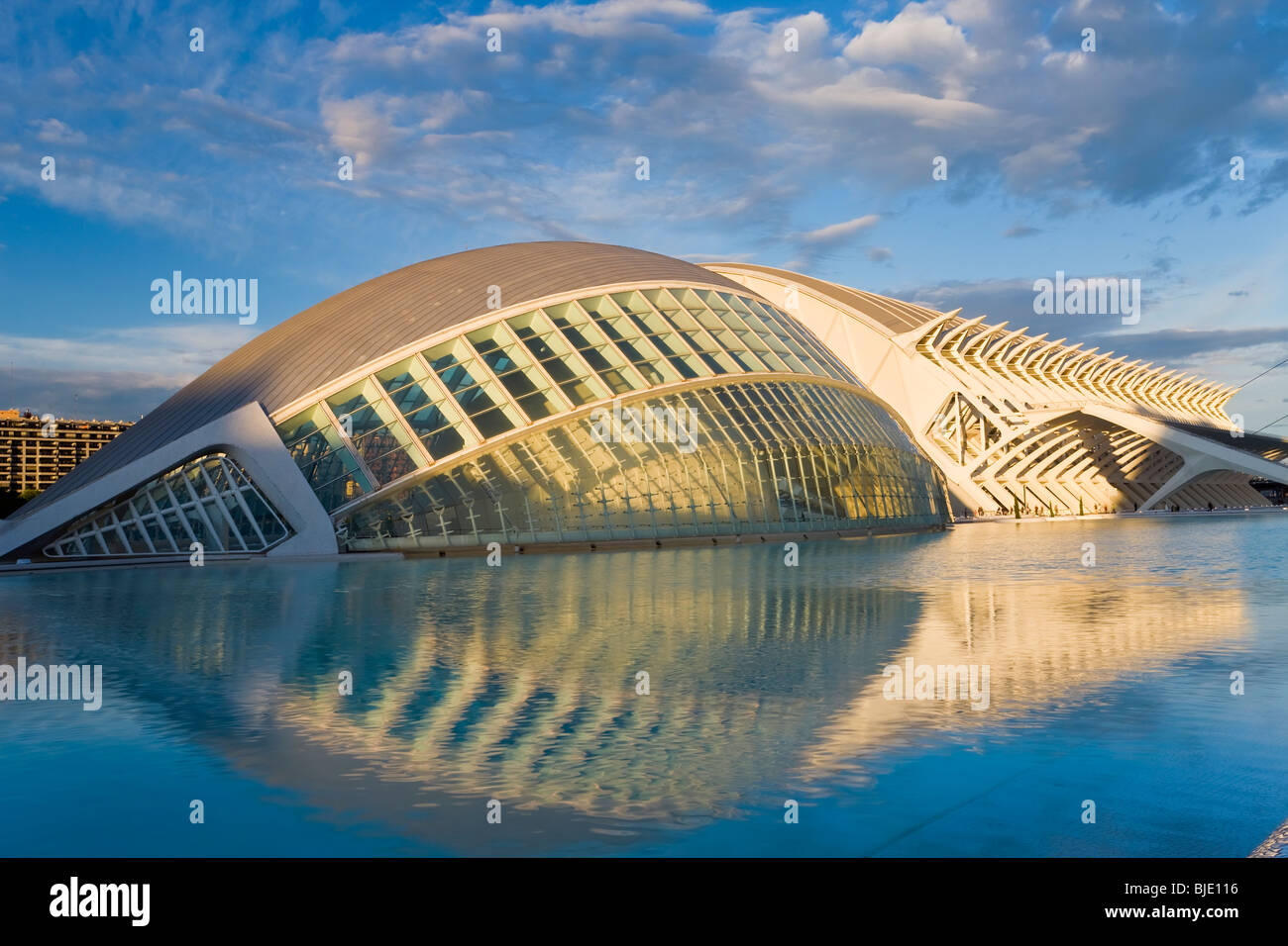 Spanien die Stadt der Künste und Wissenschaften in Valencia Gebäude Ciudad de Las Artes y de Las Ciencias Stockbild