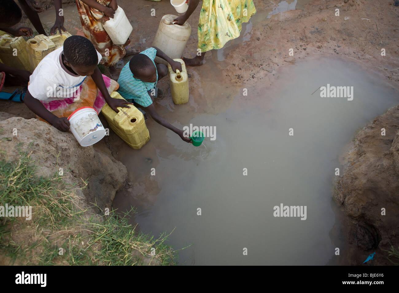 Kinder schöpfen Wasser aus einem Wasserloch in Amuria District, Uganda, Ostafrika. Stockbild