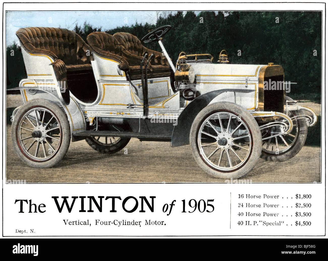 Werbung für das Winton Automobil, 4-Zylinder Modell, mit Preisliste 1905. Hand - farbige Raster eines Fotos Stockbild