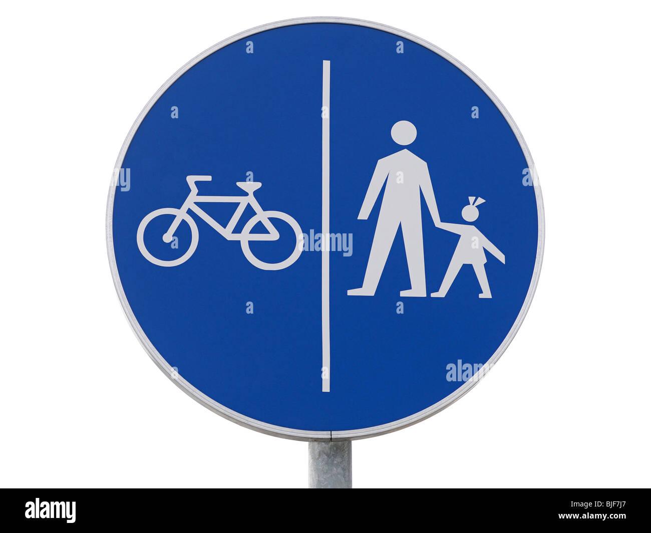 Fahrräder und Fußgänger nur Zeichen, Nahaufnahme. Stockbild