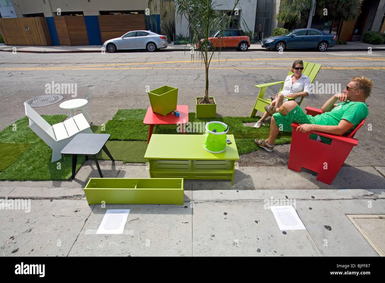 Dritte jährliche Park [Ing] Tag LA, Abbot Kinney Blvd, Venice, Los Angeles, Kalifornien Stockbild