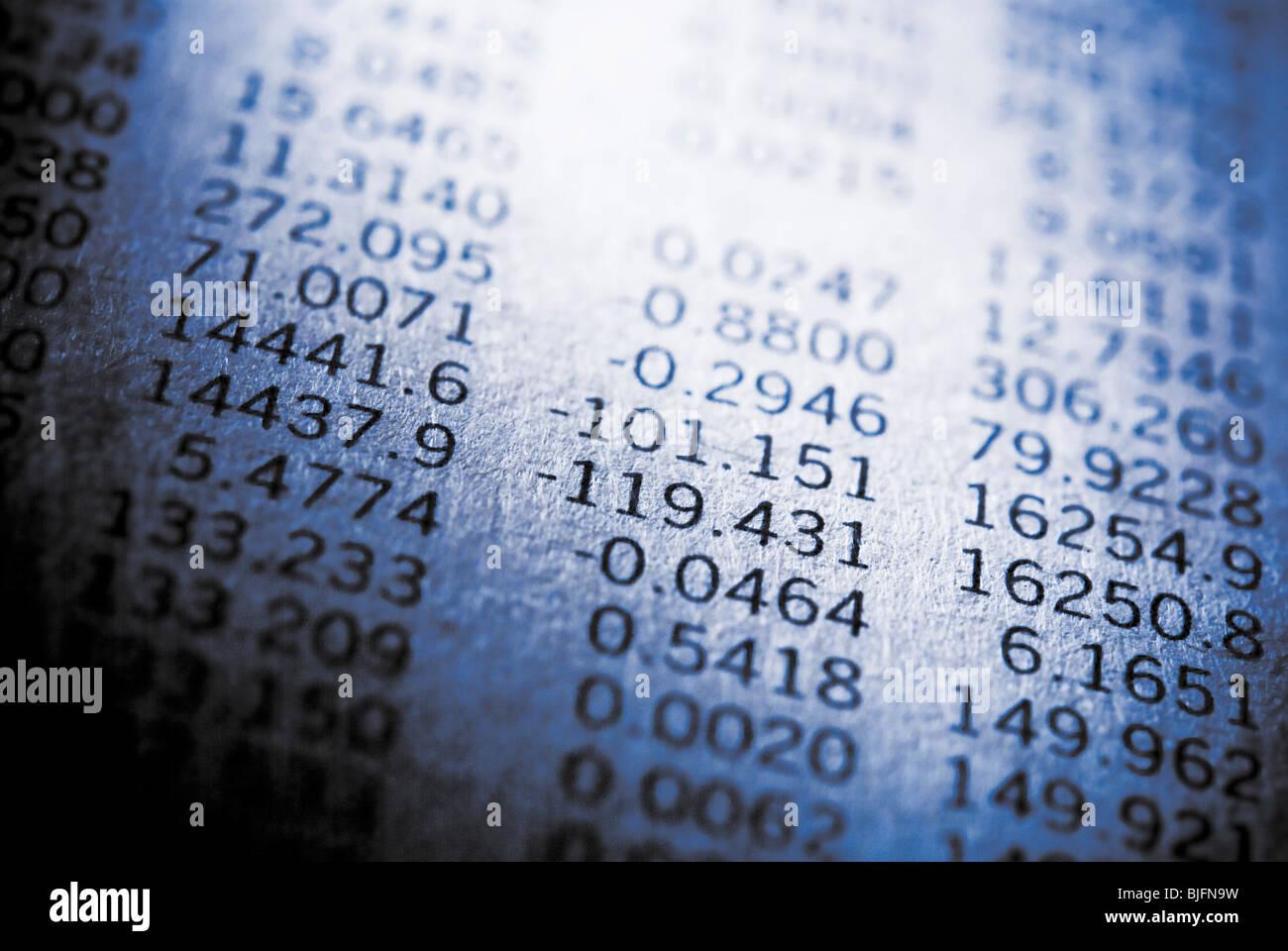 Reihen von Zahlen Stockbild