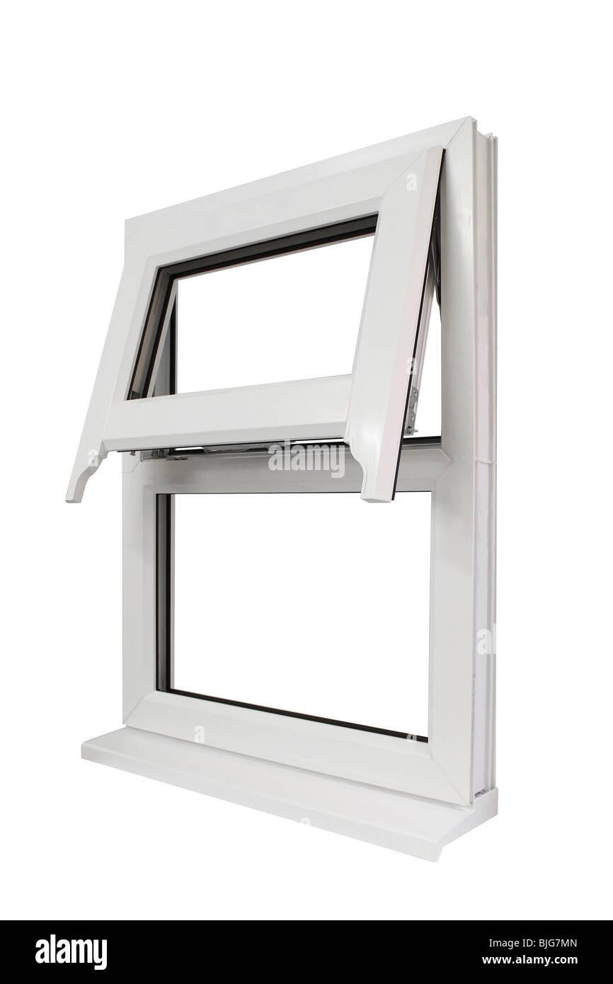 Fenster in weißer UPVC Stockbild