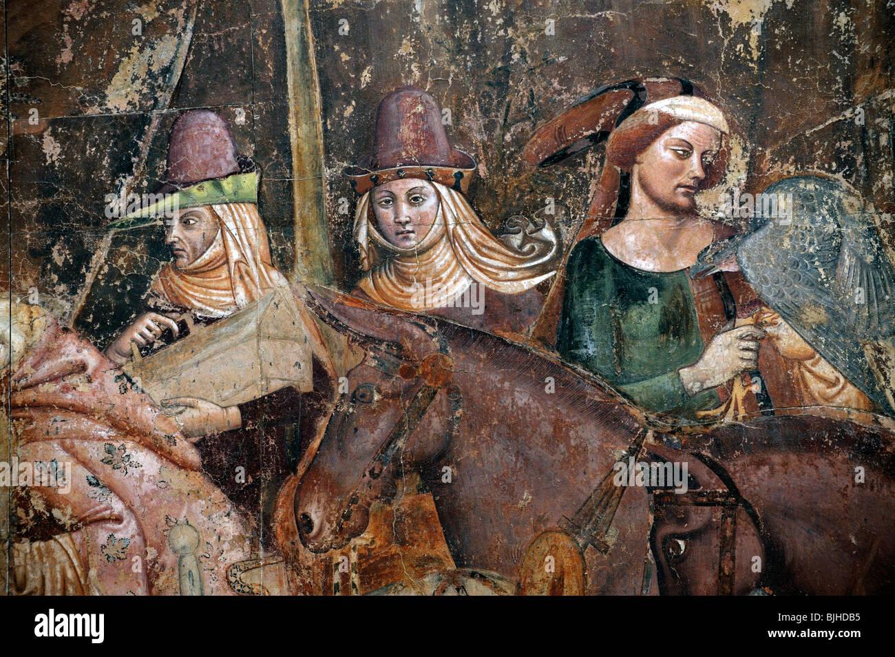 Detail aus 14 C der Triumph des Todes von Bonamico di Martino da Firenze, Buffalmacco in den Camposanto, Pisa, Toskana, Stockbild
