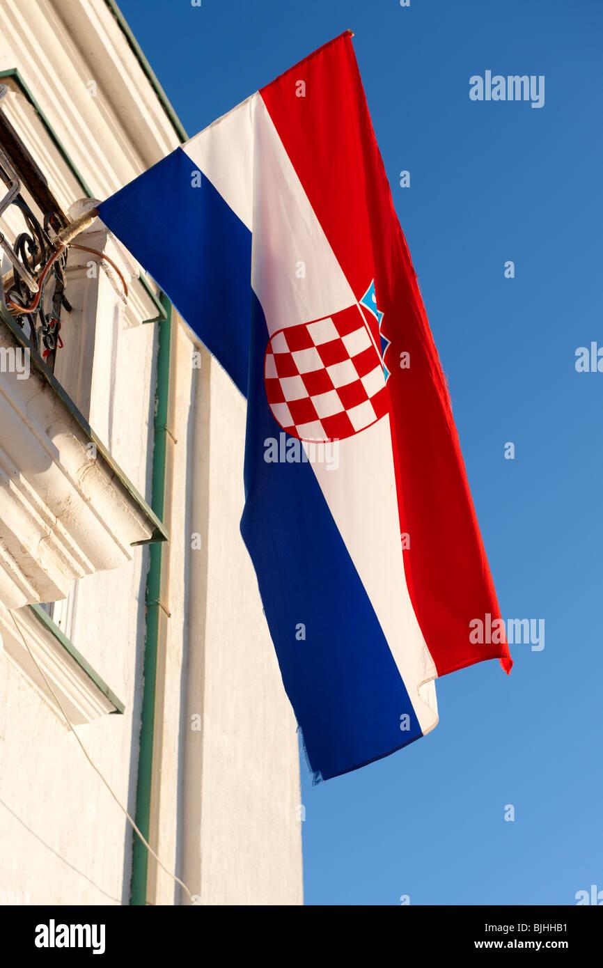 Kroatische Flagge, Insel Pag, Kroatien Stockbild
