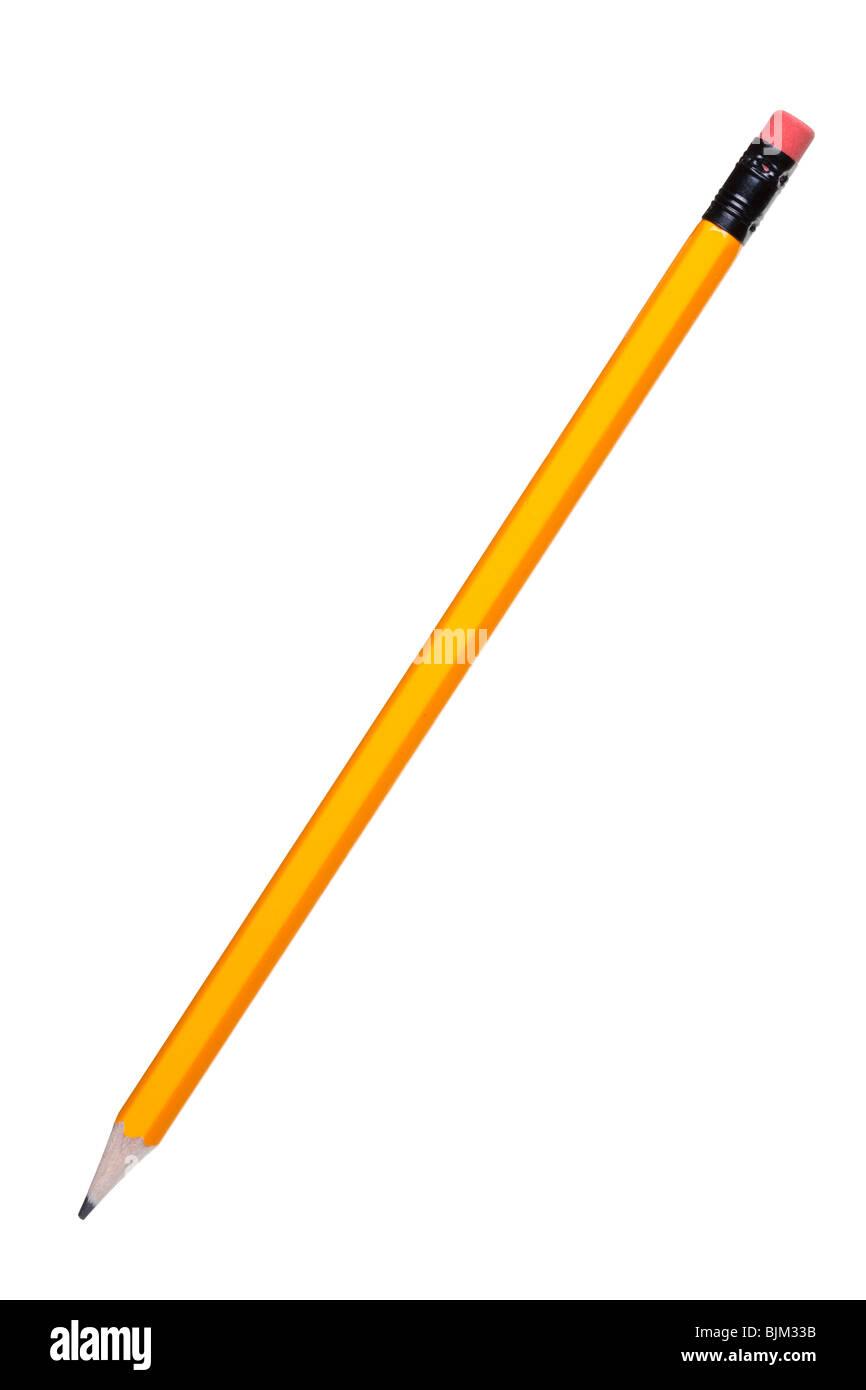Gelbe HB-Bleistift mit Radiergummi isoliert auf einem weißen Hintergrund. Stockbild