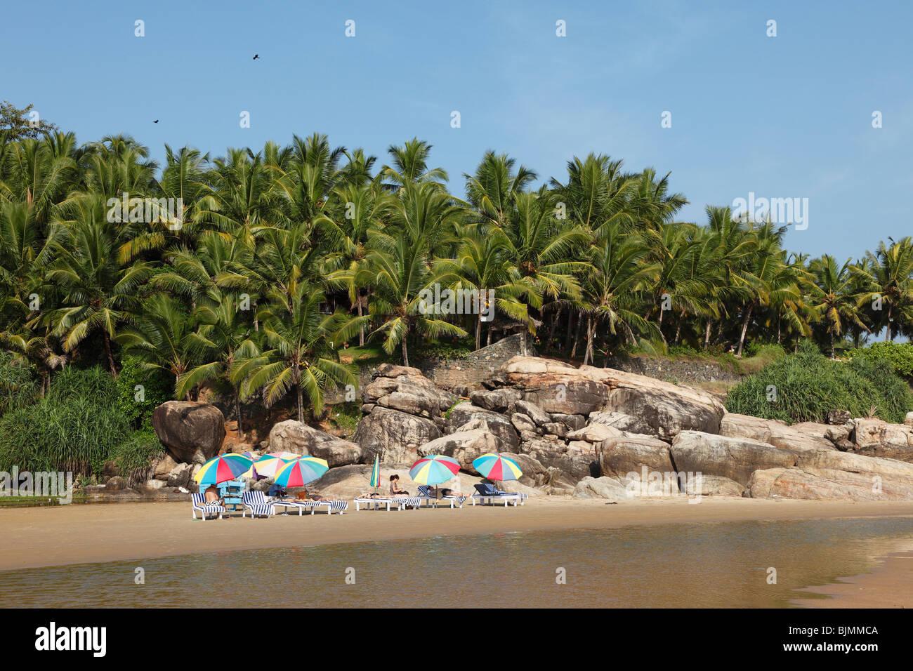 Liegen und Sonnenschirme vor Palmen, Somatheeram Beach, südlich von Kovalam, Kerala, Indien, Malabarian Küste, Stockbild