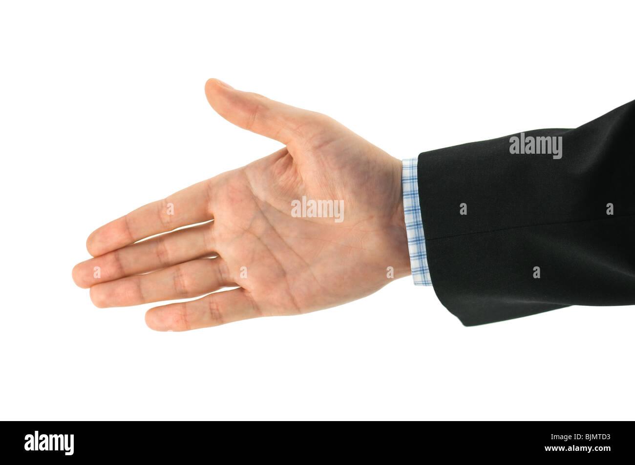 Geschäftsmann Hand isoliert auf weiss Stockbild