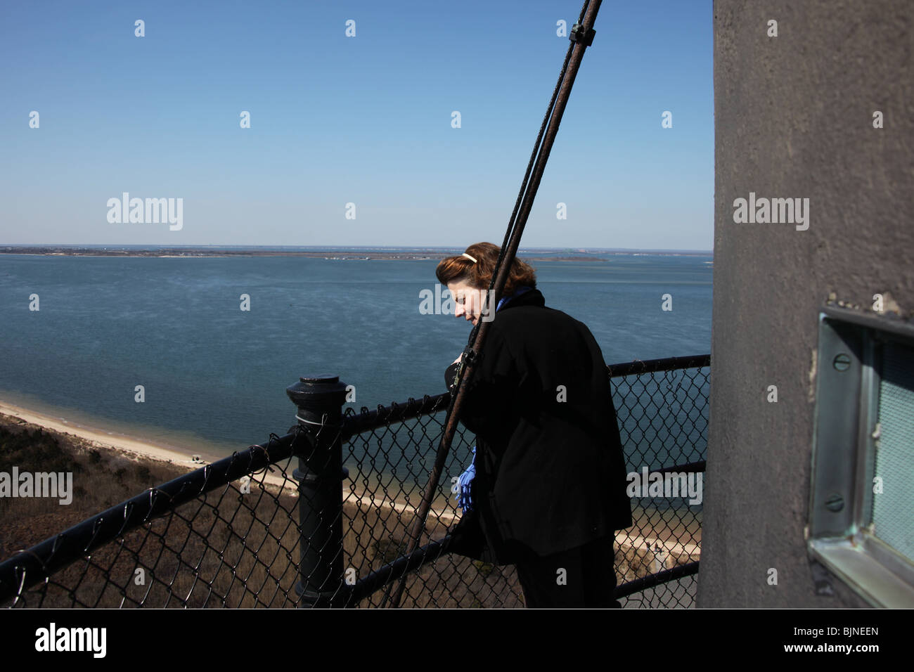 Frau Geniesst Die Aussicht Von Oben Auf Fire Island Lighthouse Robert Moses State Park