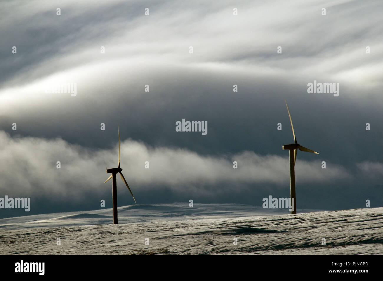 Windgeneratoren auf dem Schnee bedeckt Hügel in Caithness, Schottland, Vereinigtes Königreich.  Ein Nebel Stockbild