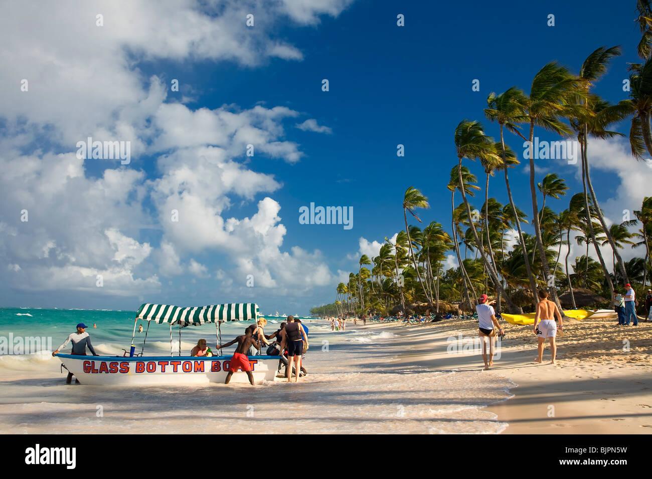 BAVARO BEACH, PUNTA CANA, DOMINIKANISCHE REPUBLIK Stockbild